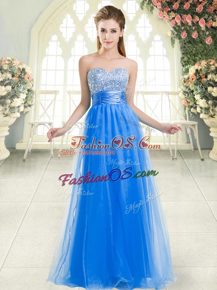 Blue Sleeveless Floor Length Beading Lace Up