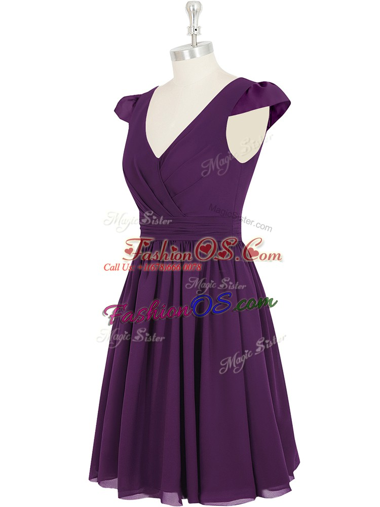 Chiffon V-neck Cap Sleeves Zipper Ruching Prom Gown in Purple