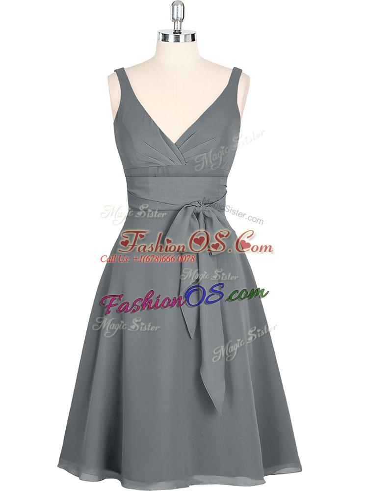 Luxurious Chiffon V-neck Sleeveless Zipper Ruching Prom Dress in Grey