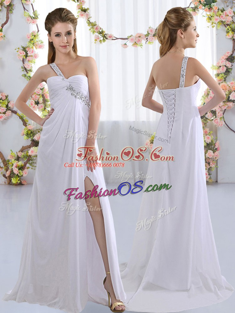 Lovely White Wedding Party Dress Prom and Party and Wedding Party with Beading One Shoulder Sleeveless Brush Train Lace Up