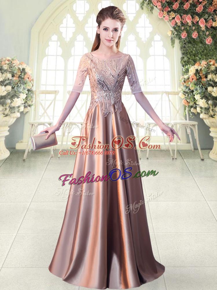 Pink A-line Scoop Half Sleeves Elastic Woven Satin Floor Length Zipper Sequins Evening Dress