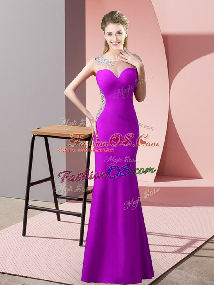 Simple Satin Scoop Sleeveless Sweep Train Zipper Beading and Pick Ups Prom Dress in Purple