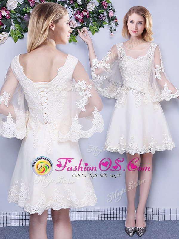 New Arrival Scoop White 3|4 Length Sleeve Lace Knee Length Quinceanera Court Dresses