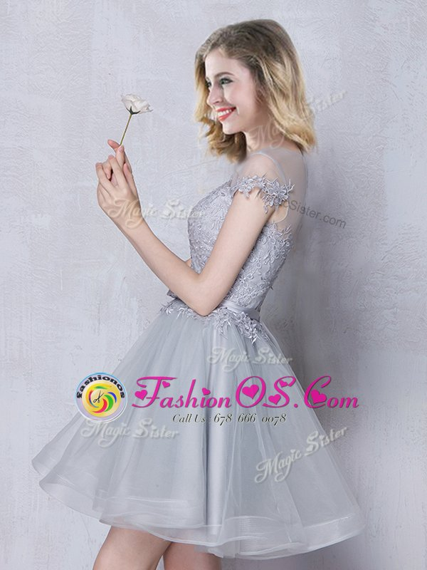 A-line Quinceanera Court of Honor Dress Grey Scoop Tulle Short Sleeves Mini Length Lace Up