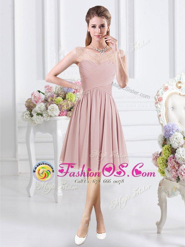 Fine A-line Quinceanera Dama Dress Pink Scoop Chiffon Cap Sleeves Knee Length Zipper