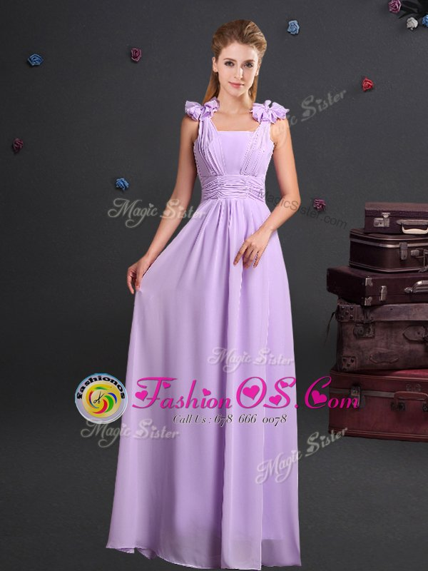 On Sale One Shoulder Chiffon Sleeveless Floor Length Dama Dress for Quinceanera and Ruching and Bowknot and Hand Made Flower
