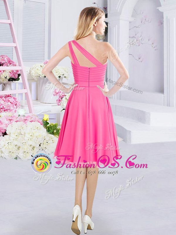 Romantic A-line Quinceanera Court of Honor Dress Hot Pink One Shoulder Chiffon Sleeveless Knee Length Zipper