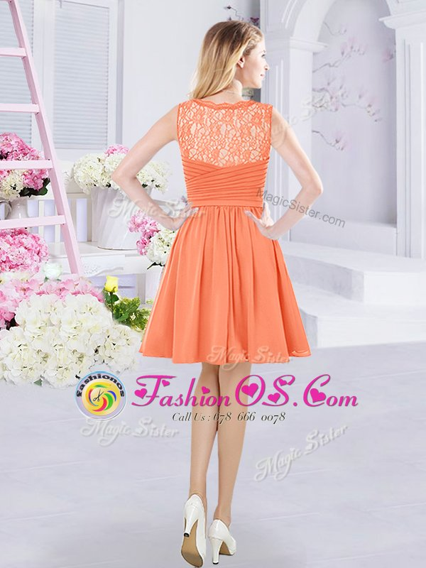 Orange Sleeveless Mini Length Lace and Ruching Side Zipper Dama Dress for Quinceanera