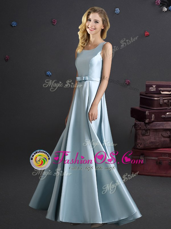 Square Bowknot Vestidos de Damas Light Blue Zipper Sleeveless Floor Length