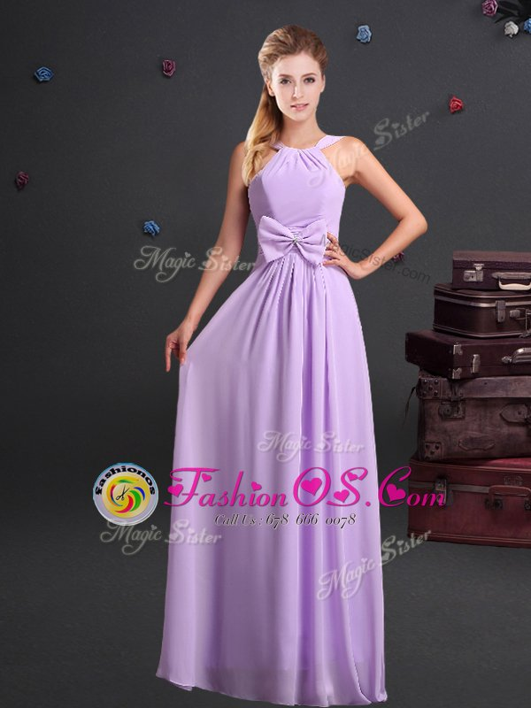 Sexy Halter Top Sleeveless Floor Length Ruching and Bowknot Zipper Dama Dress for Quinceanera with Lavender