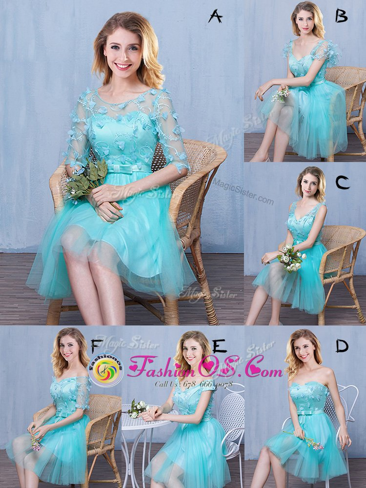 Dynamic Aqua Blue Lace Up Sweetheart Lace and Appliques and Bowknot Bridesmaids Dress Tulle Sleeveless