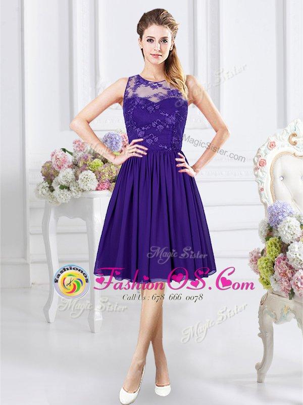 Discount Scoop Knee Length Empire Sleeveless Purple Quinceanera Court of Honor Dress Zipper