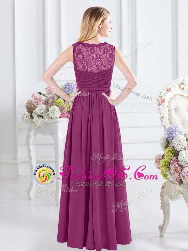 Fuchsia Side Zipper V-neck Lace and Ruching Quinceanera Court of Honor Dress Chiffon Sleeveless