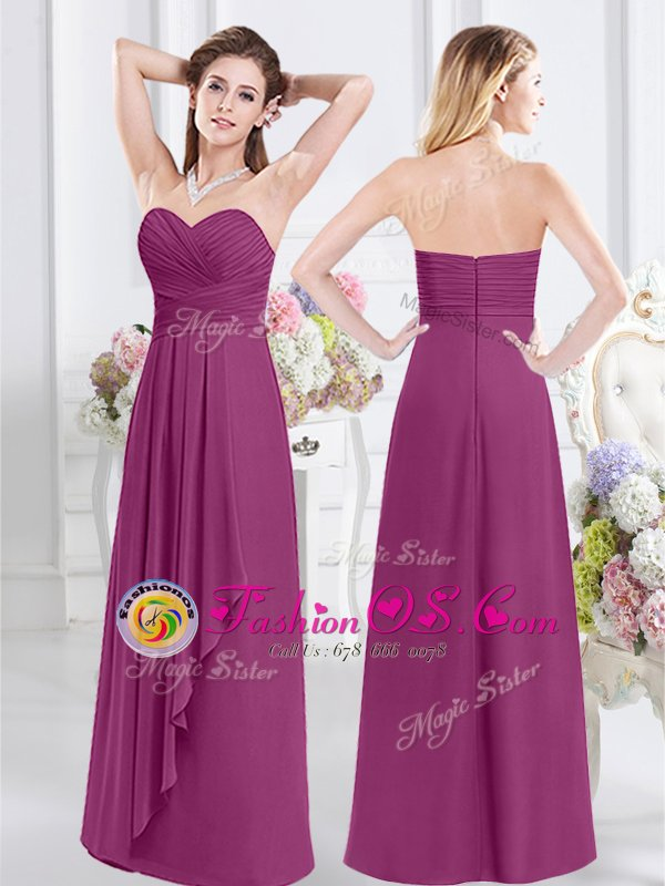 Elegant Floor Length Empire Sleeveless Fuchsia Quinceanera Court of Honor Dress Zipper
