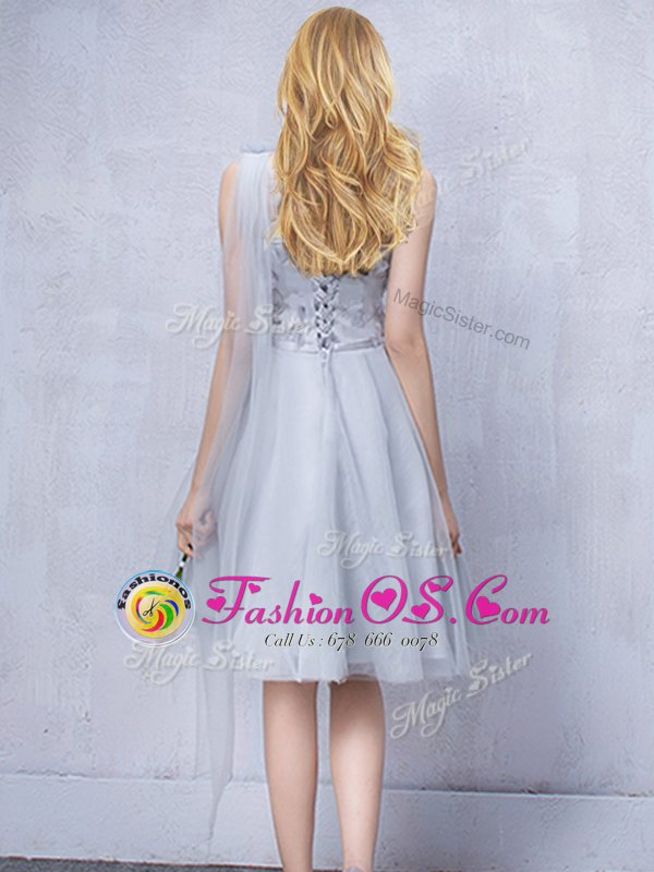 Modern One Shoulder Sleeveless Lace Up Wedding Guest Dresses Grey Tulle