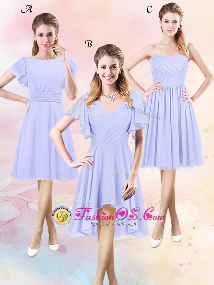 Deluxe Scoop Lavender Short Sleeves Chiffon Side Zipper Court Dresses for Sweet 16 for Prom and Party and Wedding Party