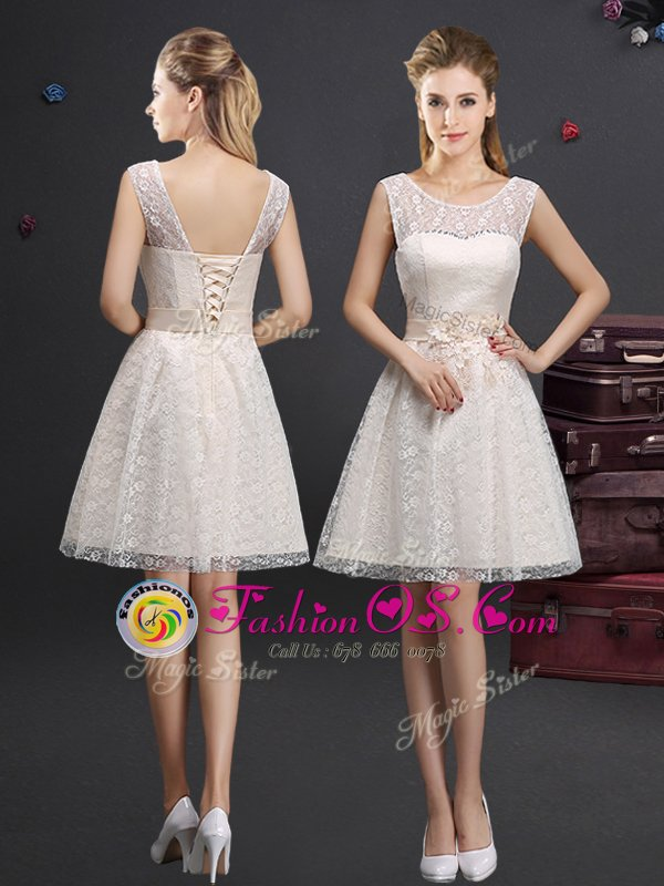 Clearance Off the Shoulder Knee Length Lace Up Dama Dress for Quinceanera Champagne and In for Prom and Party and Wedding Party with Lace and Appliques