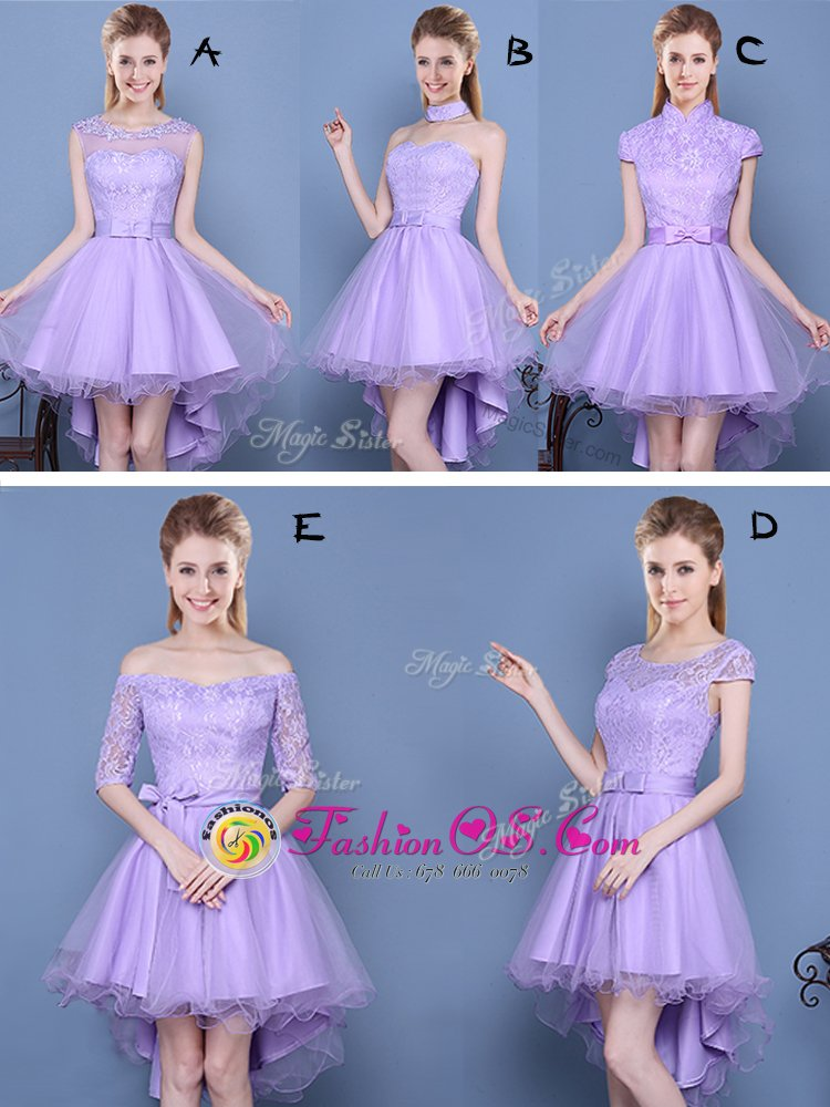 Spectacular Off The Shoulder Half Sleeves Tulle Vestidos de Damas Lace and Bowknot and Belt Lace Up