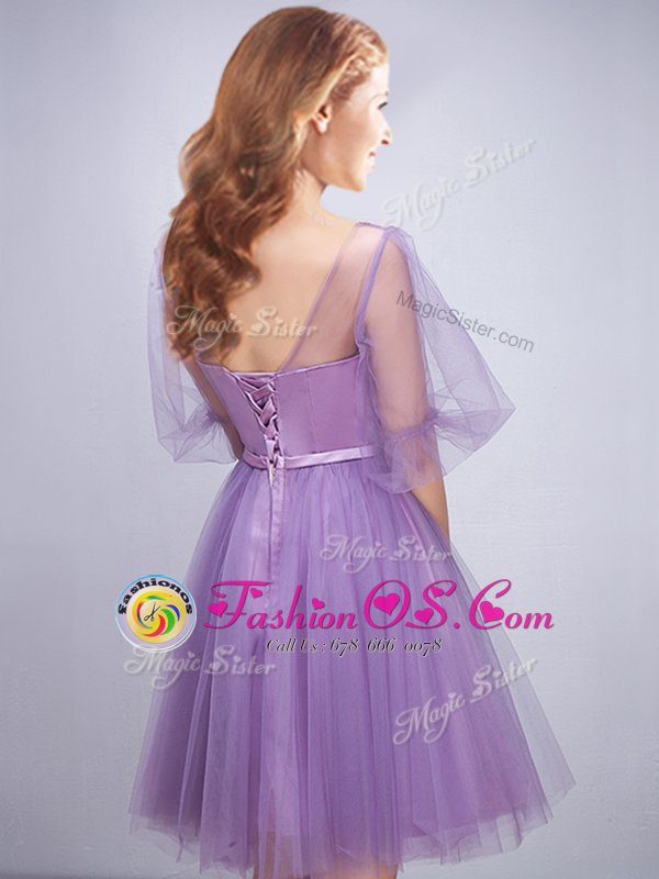 Inexpensive Scoop Half Sleeves Tulle Vestidos de Damas Appliques and Ruching and Belt Lace Up