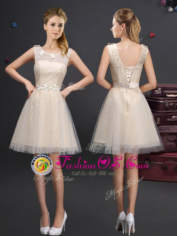 Scoop White Sleeveless Tulle Lace Up Quinceanera Dama Dress for Prom and Party and Wedding Party