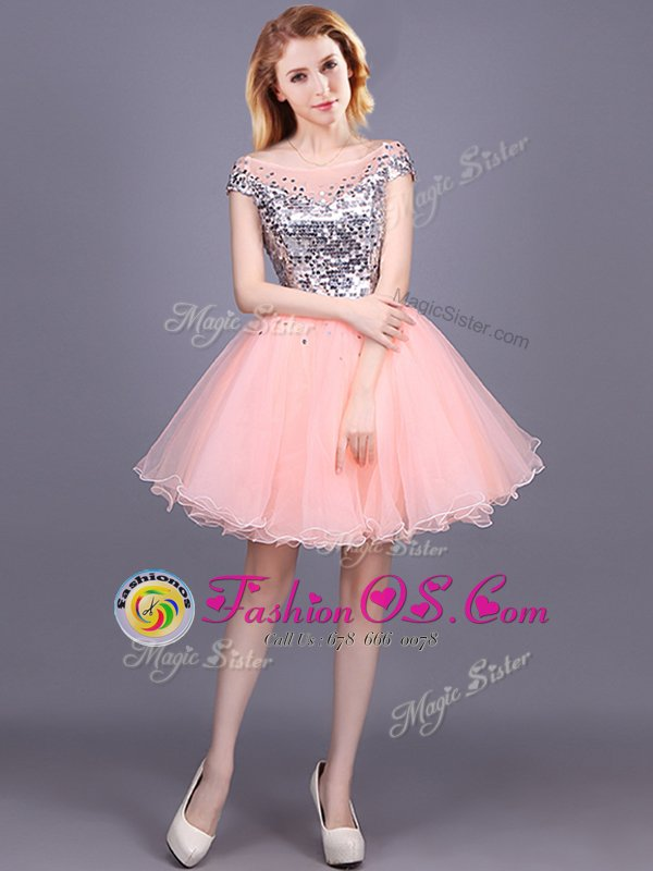 Modern Pink A-line Sequins Dama Dress Zipper Tulle Short Sleeves Mini Length