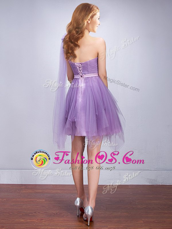 Charming One Shoulder Sleeveless Tulle Quinceanera Court Dresses Ruffles and Ruching and Belt and Hand Made Flower Lace Up