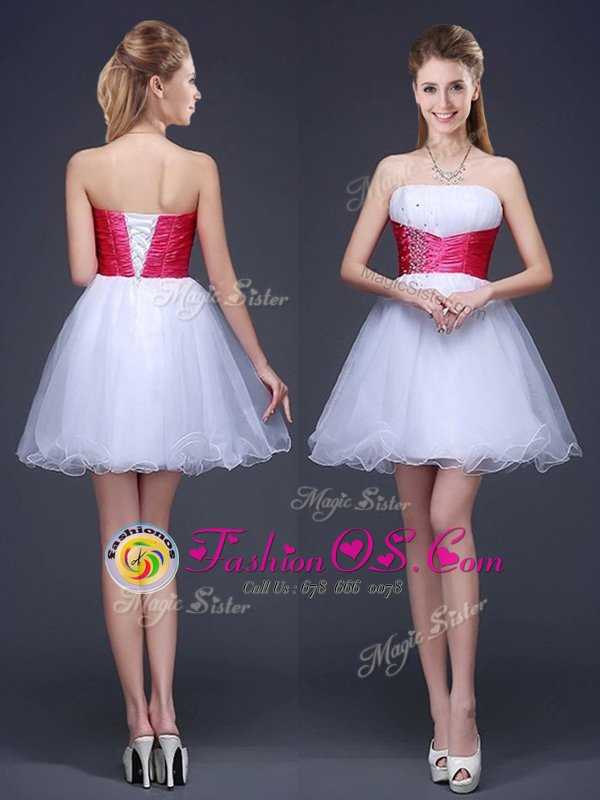 Sleeveless Organza Mini Length Lace Up Dama Dress in White for with Beading and Ruching and Belt