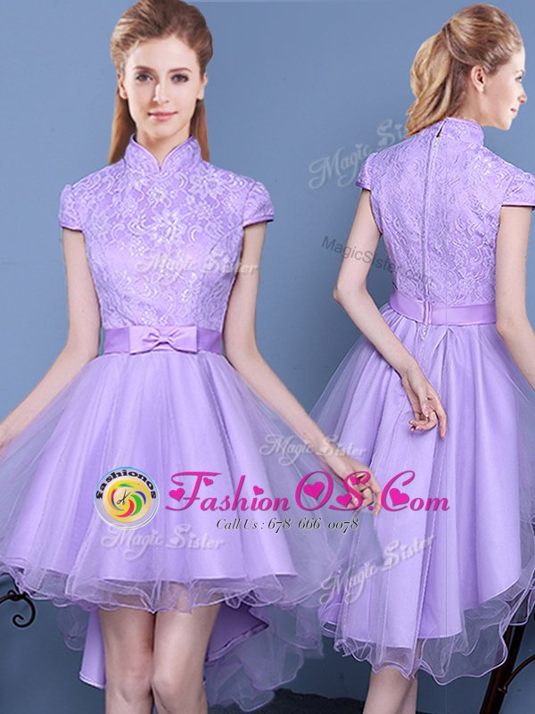 Excellent Short Sleeves Lace and Bowknot and Belt Zipper Quinceanera Dama Dress