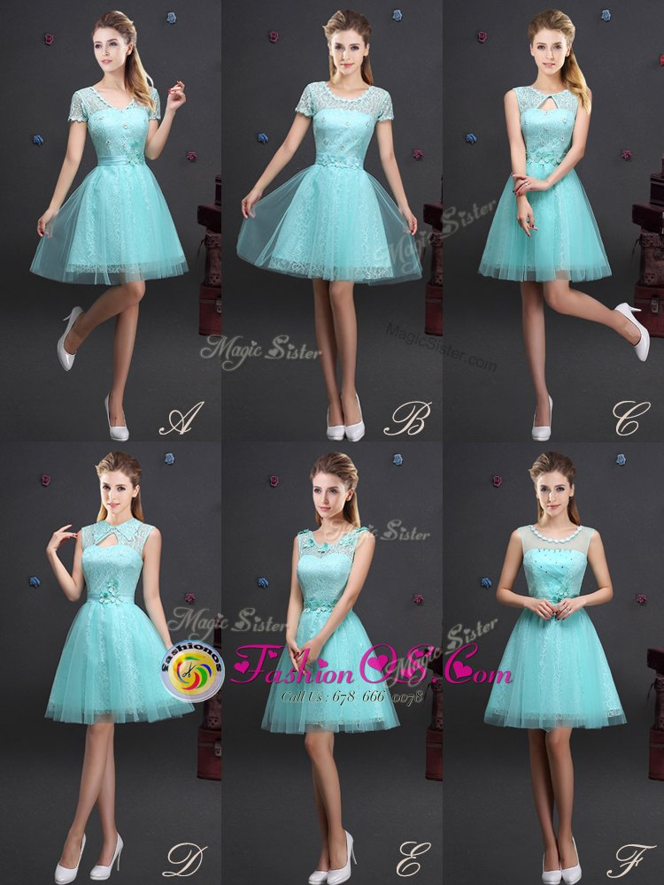 Fantastic Scoop Aqua Blue Lace Up Quinceanera Court of Honor Dress Beading and Lace and Appliques and Belt Sleeveless Mini Length
