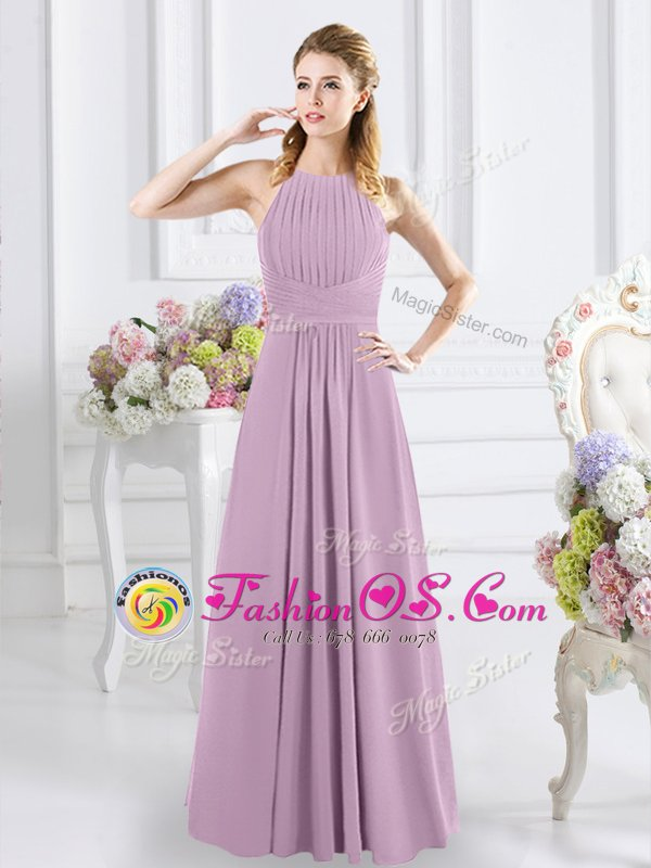 Exquisite Halter Top Sleeveless Chiffon Floor Length Zipper Quinceanera Court Dresses in Lavender for with Ruching