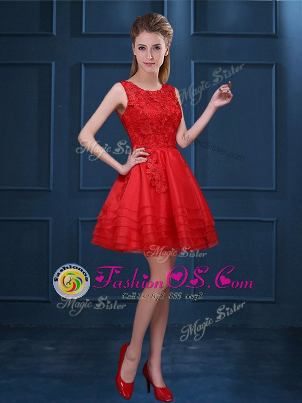 Best Selling Red Zipper Scoop Lace and Ruffled Layers Dama Dress Organza Sleeveless