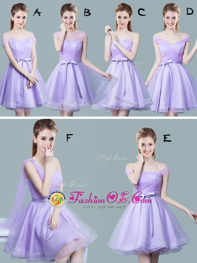 V-neck Cap Sleeves Dama Dress for Quinceanera Knee Length Ruching and Bowknot Lavender Tulle