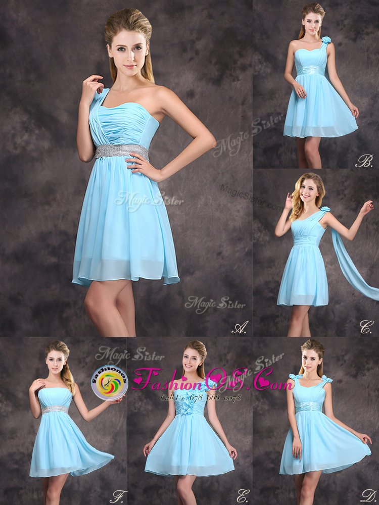 One Shoulder Mini Length Empire Sleeveless Baby Blue Dama Dress for Quinceanera Zipper