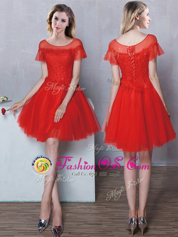 Stunning Red A-line Scoop Short Sleeves Tulle Mini Length Lace Up Lace Quinceanera Dama Dress