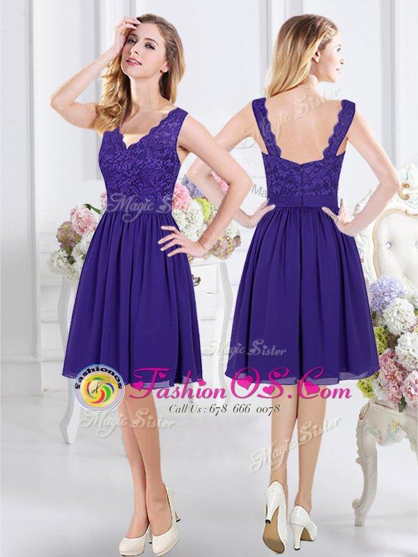 Chiffon Sleeveless Knee Length Damas Dress and Lace