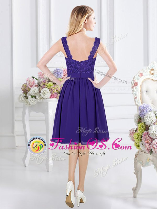 Chiffon Sleeveless Knee Length Damas Dress and Lace