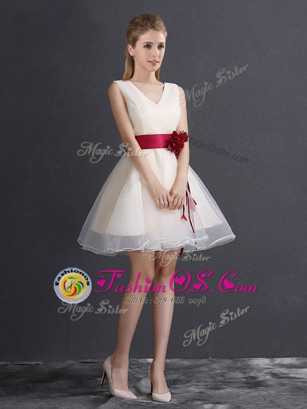 Super Champagne Sleeveless Organza Lace Up Damas Dress for Prom and Party and Wedding Party