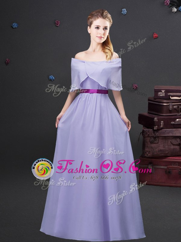Deluxe Lavender Zipper Off The Shoulder Ruffled Layers and Ruching and Belt Quinceanera Court of Honor Dress Chiffon Sleeveless