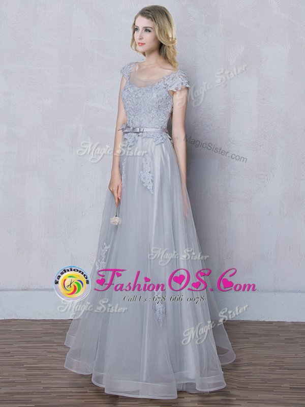 Grey Tulle Lace Up Scoop Cap Sleeves Floor Length Quinceanera Dama Dress Lace and Appliques and Belt