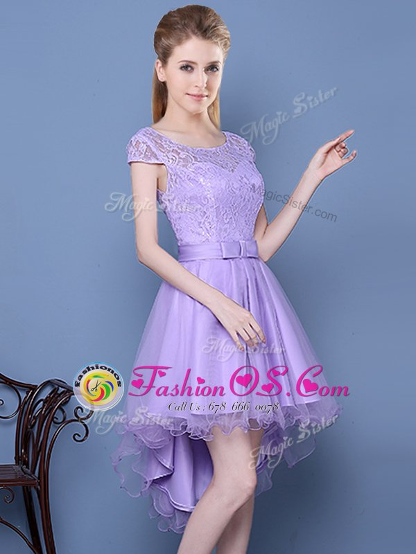 Delicate Scoop Cap Sleeves Tulle Dama Dress Lace Lace Up