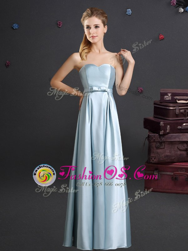 Designer Floor Length Empire Sleeveless Light Blue Vestidos de Damas Zipper