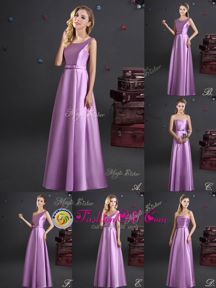 Beauteous Lilac Square Zipper Bowknot Quinceanera Dama Dress Sleeveless