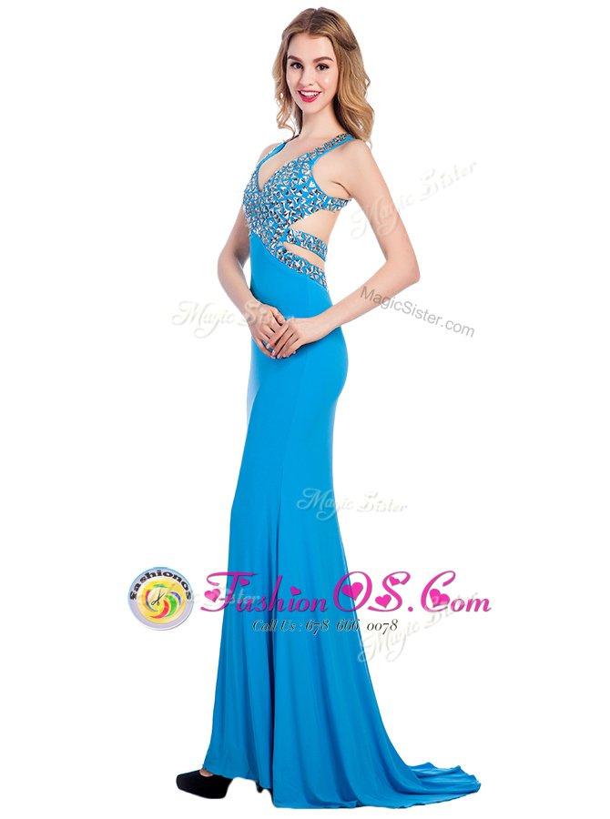 Spectacular Baby Blue Clasp Handle V-neck Beading Dress for Prom Silk Like Satin Sleeveless