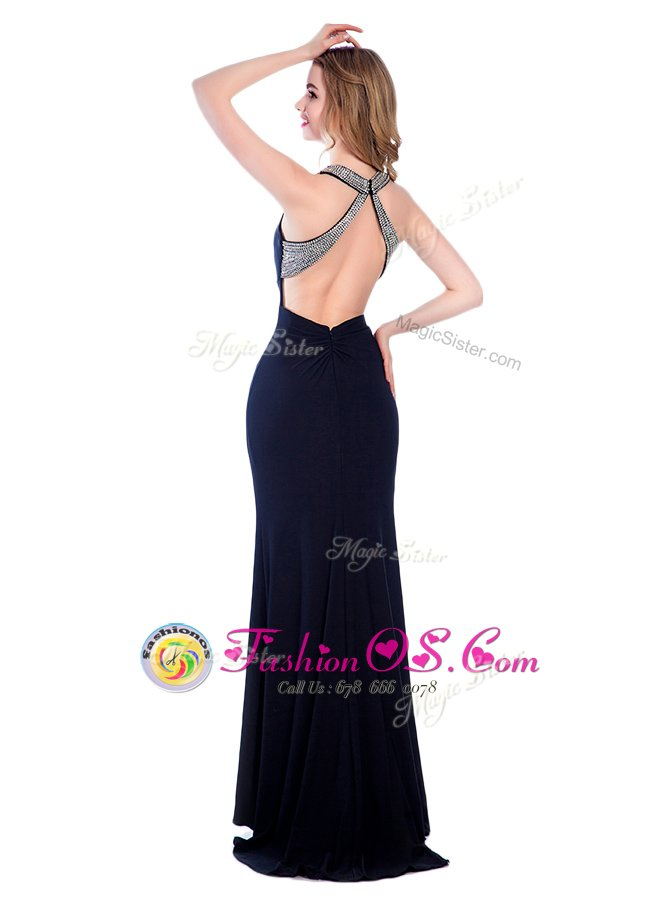 Edgy Black Criss Cross High-neck Beading Homecoming Dress Silk Like Satin Sleeveless