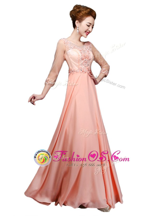 Delicate Scoop Peach Zipper Mother Of The Bride Dress Beading 3 4 Length Sleeve Floor Length