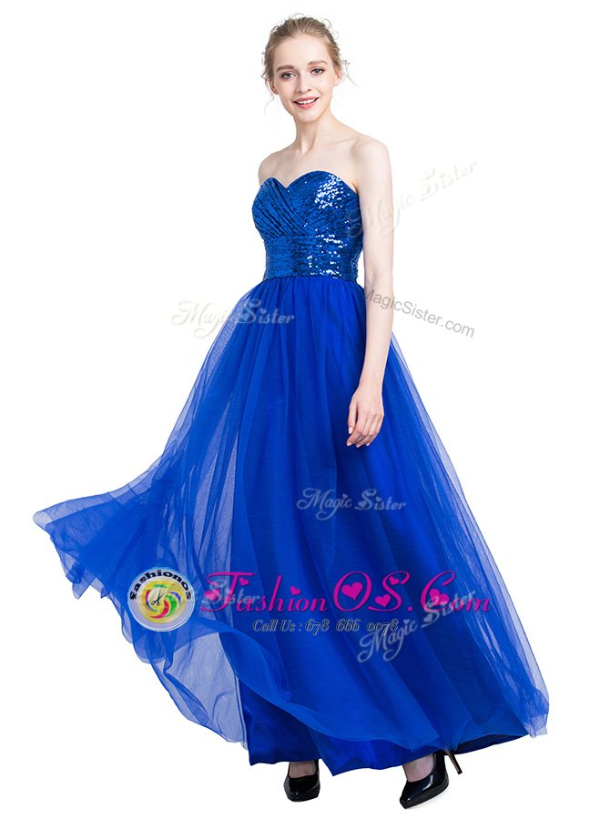 Top Selling Royal Blue Zipper Homecoming Dress Sequins Sleeveless Floor Length