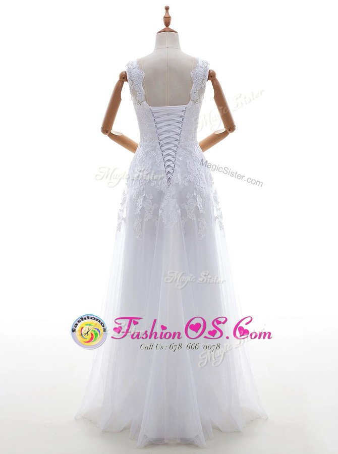 Latest Scoop White Tulle Lace Up Bridal Gown Sleeveless With Brush Train Lace and Appliques