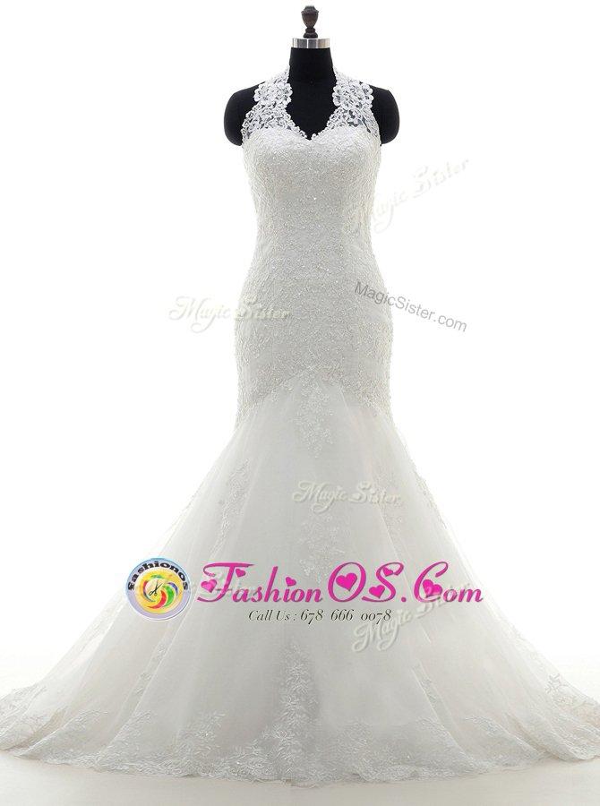 Mermaid V-neck Sleeveless Lace Wedding Dress Lace and Appliques Brush Train Lace Up