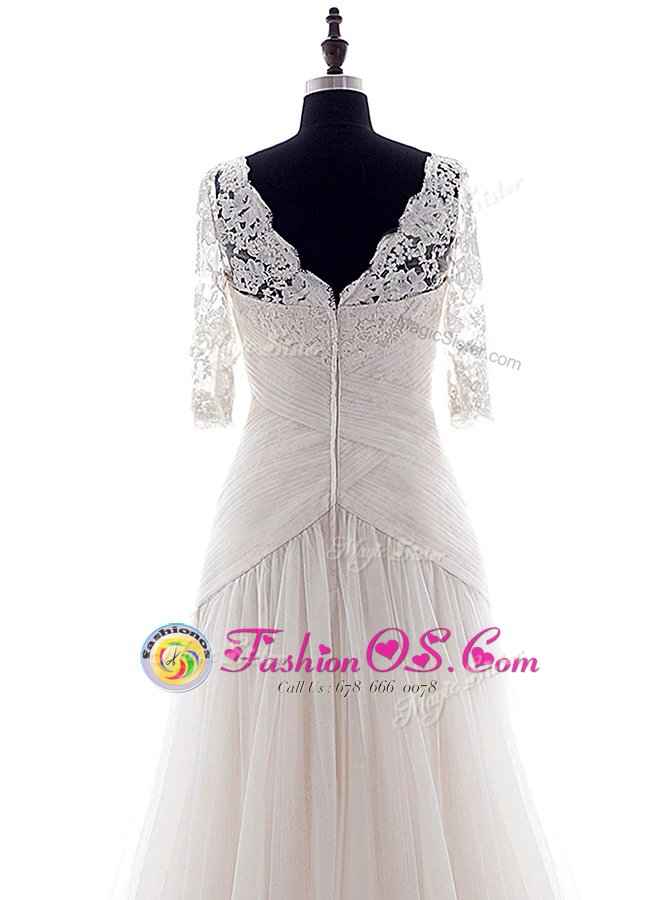 Glorious White Column/Sheath Tulle Square Half Sleeves Lace With Train Zipper Bridal Gown Brush Train