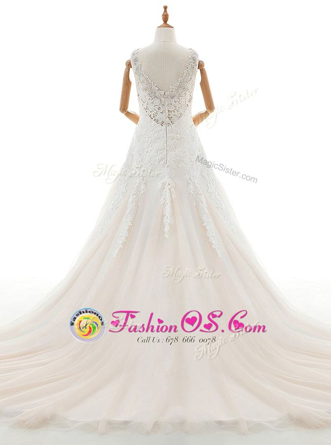 With Train White Wedding Gowns V-neck Sleeveless Court Train Zipper